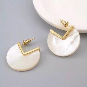 Natural Ivory Shell Slice Earrings